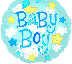 "24"" Baby Boy Clouds Foil Balloon"