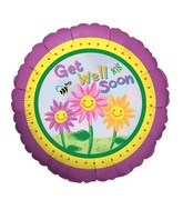 "18"" Happy Flowers Get Well Balloon"