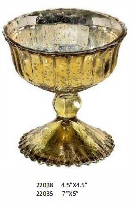 Gold Finish Over Glass Pedestal Container