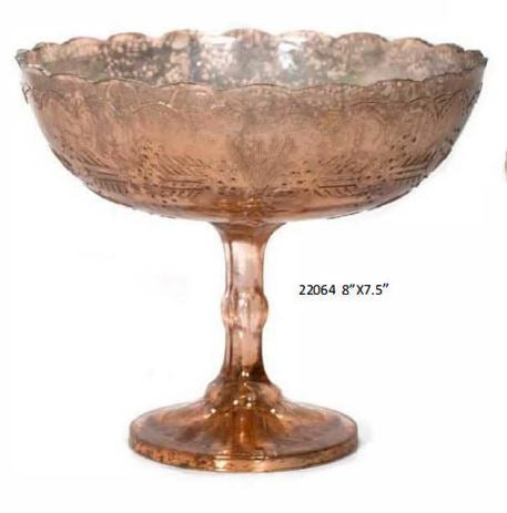 Mercury Copper Finish Over Glass Pedestal Bowl