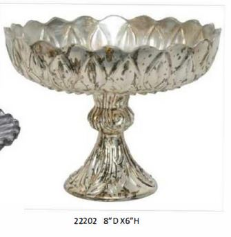 Royal Platinum Glass Pedestal Bowl