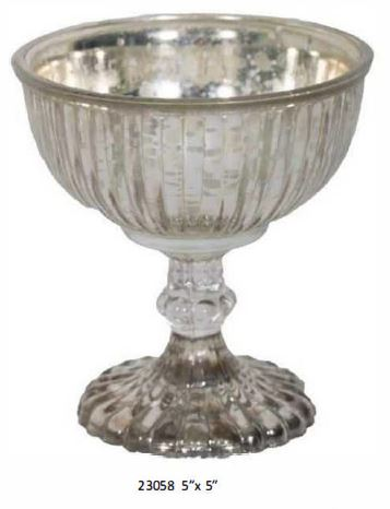 Mercury Silver Glass Pedestal Bowl