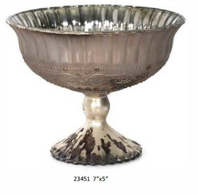 Burnt Platinum Mercury Line Pedestal Bowl