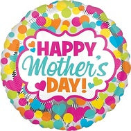 "18"" Happy Mother's Day Dots and Hearts Balloon"