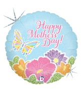 "18"" Holographic Balloon Pastel Butterfly Mother's Day"