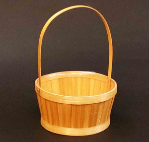"8.75"" Round Slat Basket with Handle"