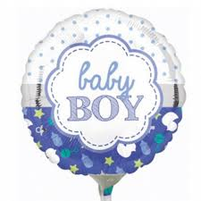 "Pre-Inflated 9"" Baby Boy Scallop Balloon"