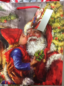 "4 x 7 x 9"" Medium Gift Bag - Santa w/ one child"