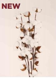 Faux Cotton Branched Stem