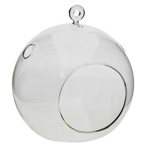 "4.5"" Round Clear Hanging Glass Vase"