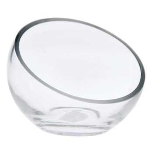 "5.25"" Round Clear Slanted Glass Vase"
