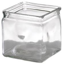 "4"" x 4"" Clear Glass Cube Vase"