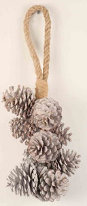 Hanging Bunch Pine Cone White Wash