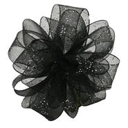 "Flash, Wired Edge 5/8"" Ribbon - Black/Silver"