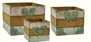 Brown/Green Wood Cube Set w/ Butterfly