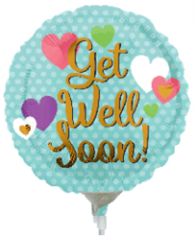 "4"" Pre-Inflated Get Well Soon Hearts Balloon"