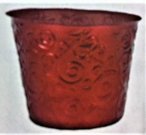 "6"" Red Scrollwork Plastic Pot Cover"