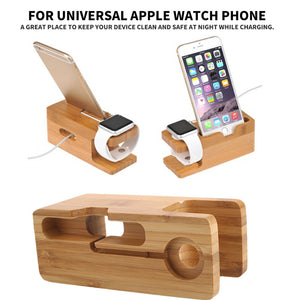Durable Phone Office Watch Holder Charger Holder Stand Wooden Desktop Bracket Support Phone Stand