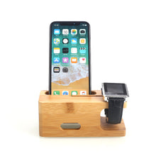 Load image into Gallery viewer, Durable Phone Office Watch Holder Charger Holder Stand Wooden Desktop Bracket Support Phone Stand
