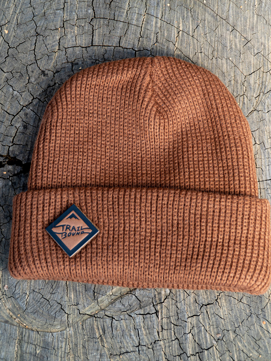 Brown Beanie Leather Diamond Patch
