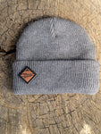 Grey Beanie Leather Diamond Patch