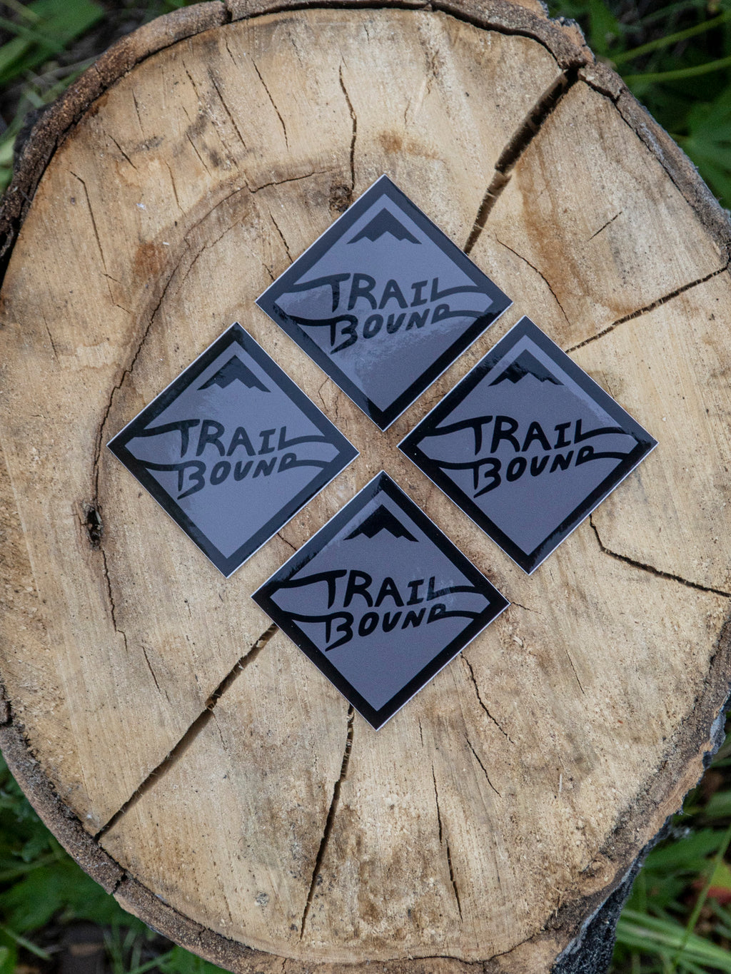 Heavy Duty Grey Small Trailbound Sticker 4 pack