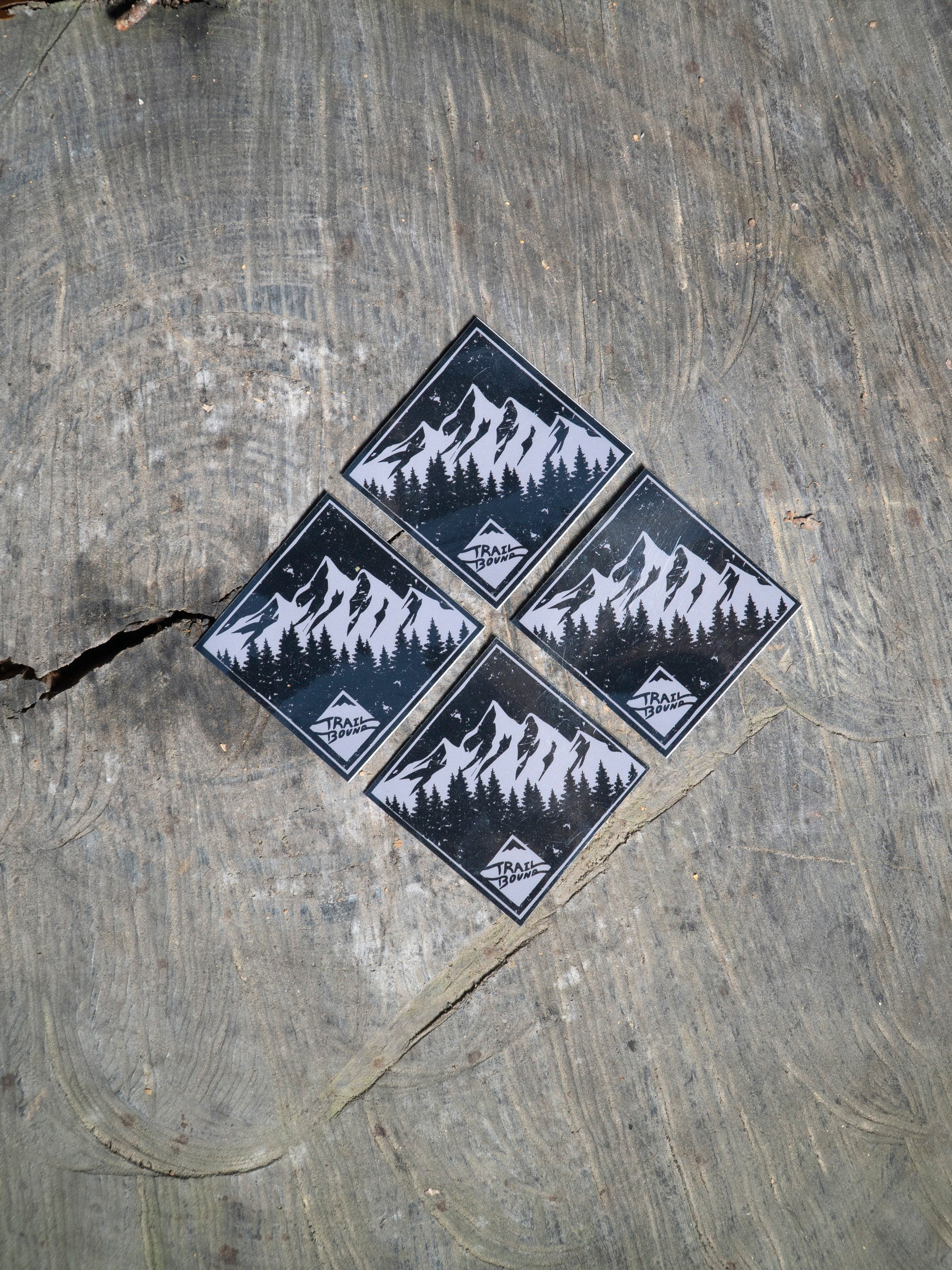 Mountain Tree Sticker 4 pack