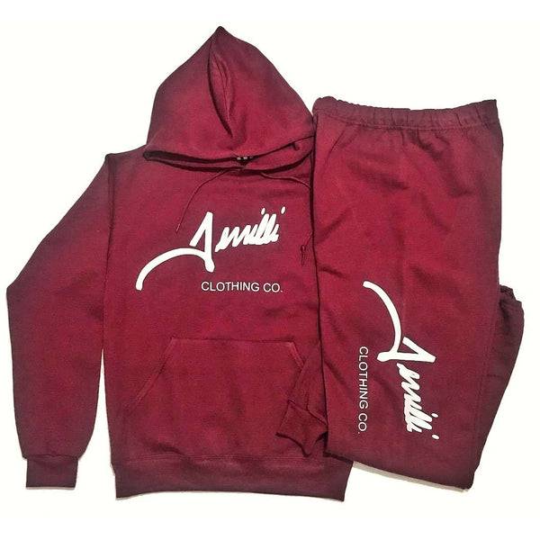 "Burgandy Terrilli ""Signature"" Unisex Pull Over Hoodie Sweat Suit"