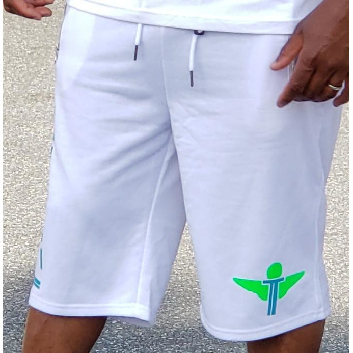 Terrilli Terry Shorts (White/Lime Green/Turquoise)