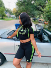 Load image into Gallery viewer, Terrilli Body Hoody Short Set (Black/Lime)