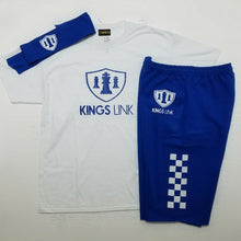 Load image into Gallery viewer, Royal/White Kings Link Short Set W/ Headband