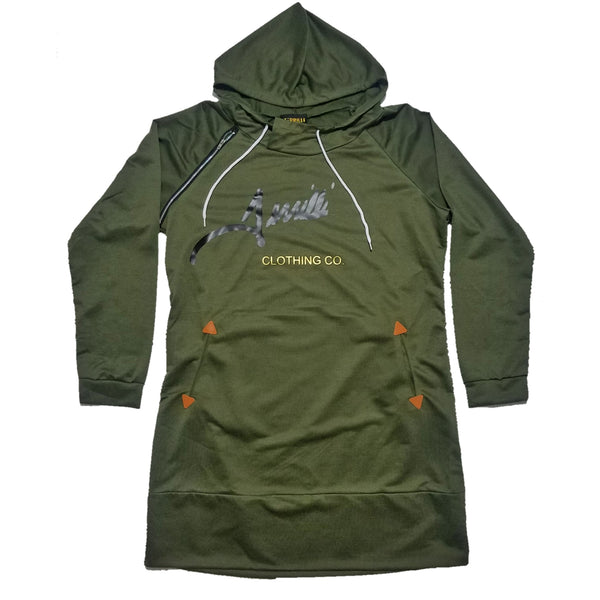 "Terrilli ""Signature"" Long Sleeve Hoodie Dress (Army Green/Black/Gold)"