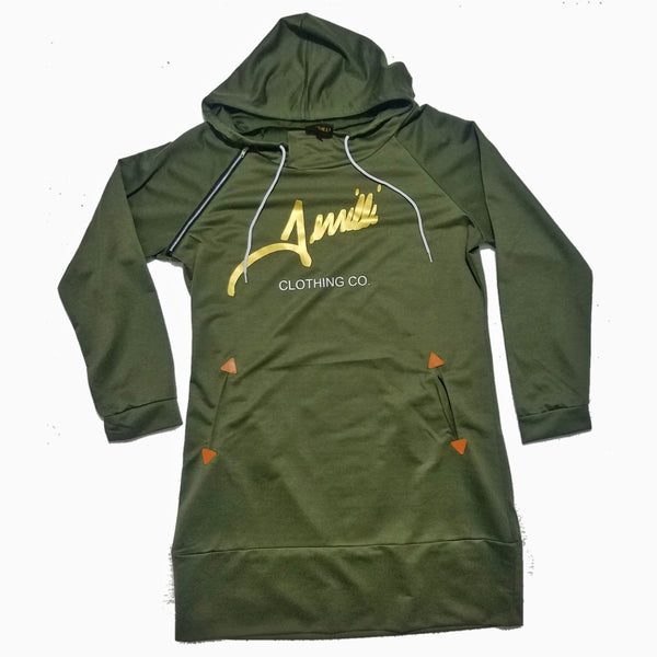 "Terrilli ""Signature"" Long Sleeve Hoodie Dress (Army Green/Gold)"