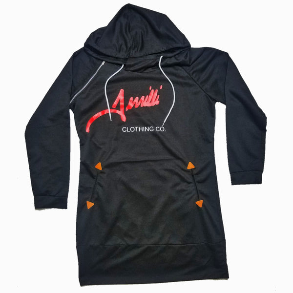 "Terrilli ""Signature"" Long Sleeve Hoodie Dress (Black/Red)"