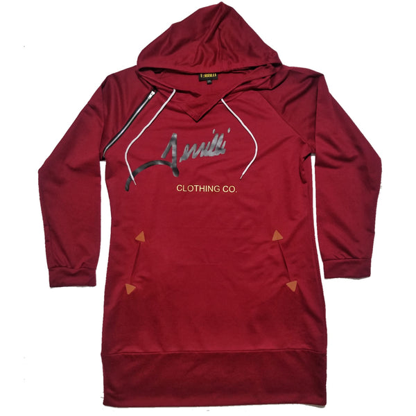 "Terrilli ""Signature"" Long Sleeve Hoodie Dress (Burgundy/Black/Gold)"