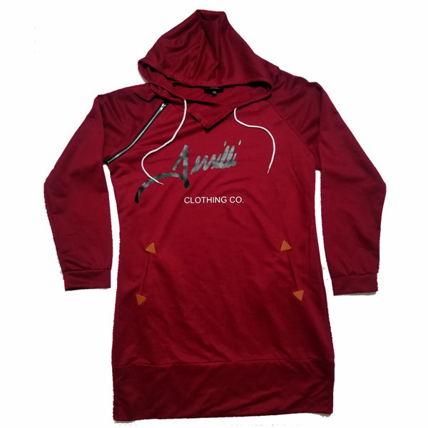"Terrilli ""Signature"" Long Sleeve Hoodie Dress (Burgundy/Black/White)"