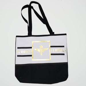 Terrilli Simple Tote Bag (White/Black/Gold)