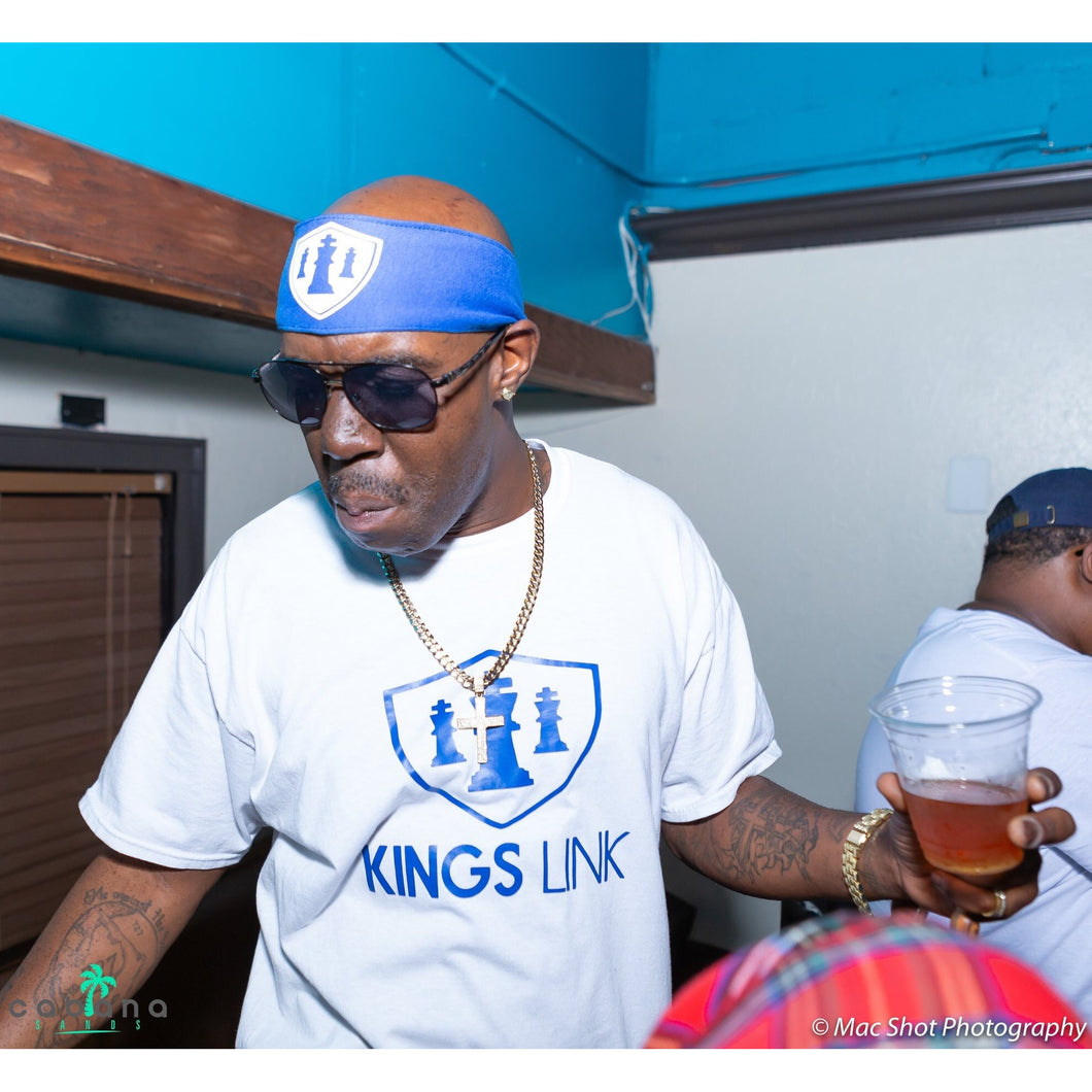 Royal/White Kings Link Short Set W/ Headband