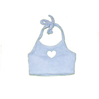 BLUE FUZZY HEART CUT OUT HALTER NECK
