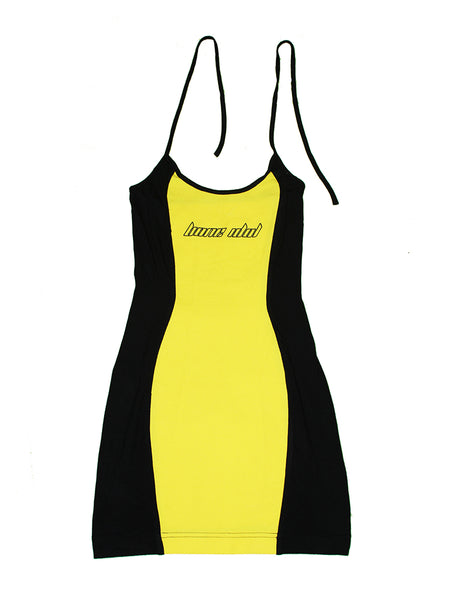ISHII BLACK & YELLOW HALTER NECK MINI DRESS