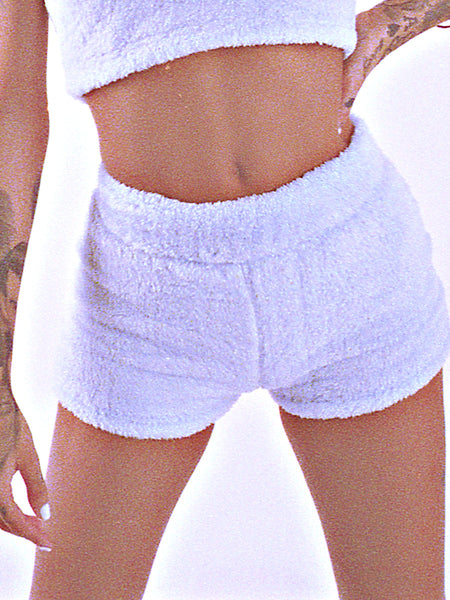 BLUE FUZZY LOUNGE SHORTS