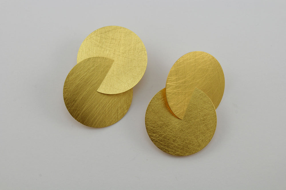 Earrings, gold-plated silver