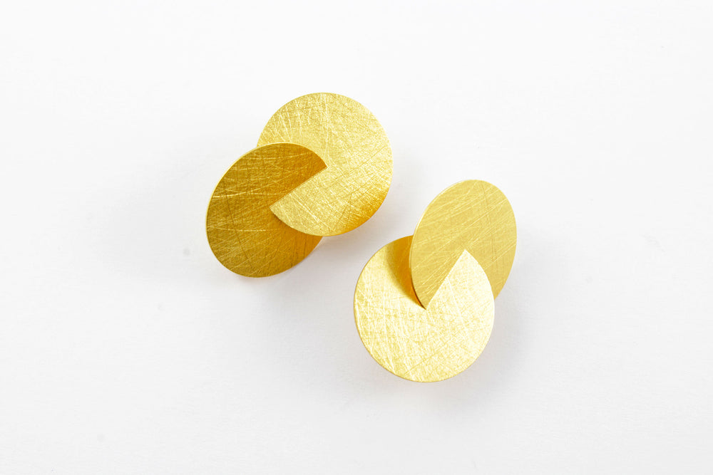 Earrings, silver gold-plated