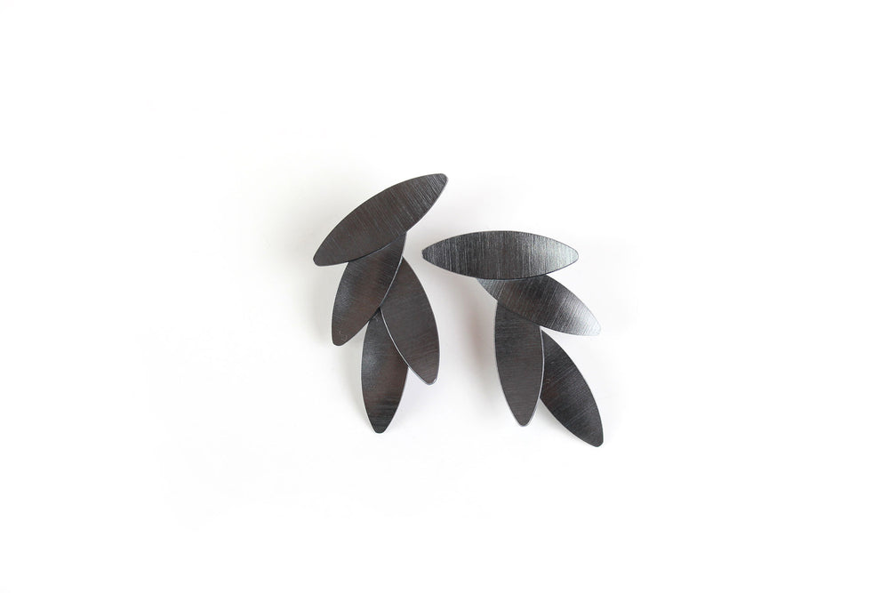 Earrings, black leaves