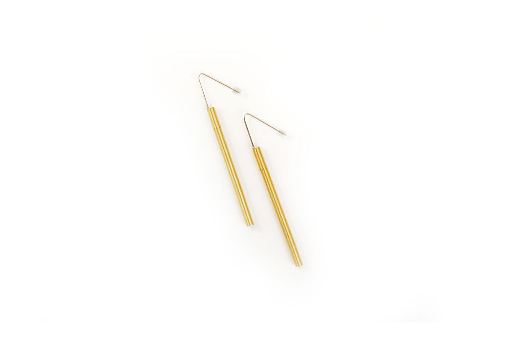 Earrings, steel/gold spring