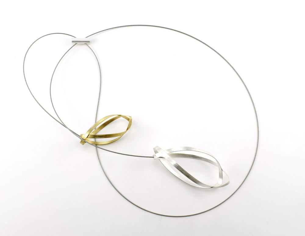 Necklace, silver gold-plated