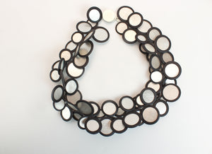 Necklace, silver/black