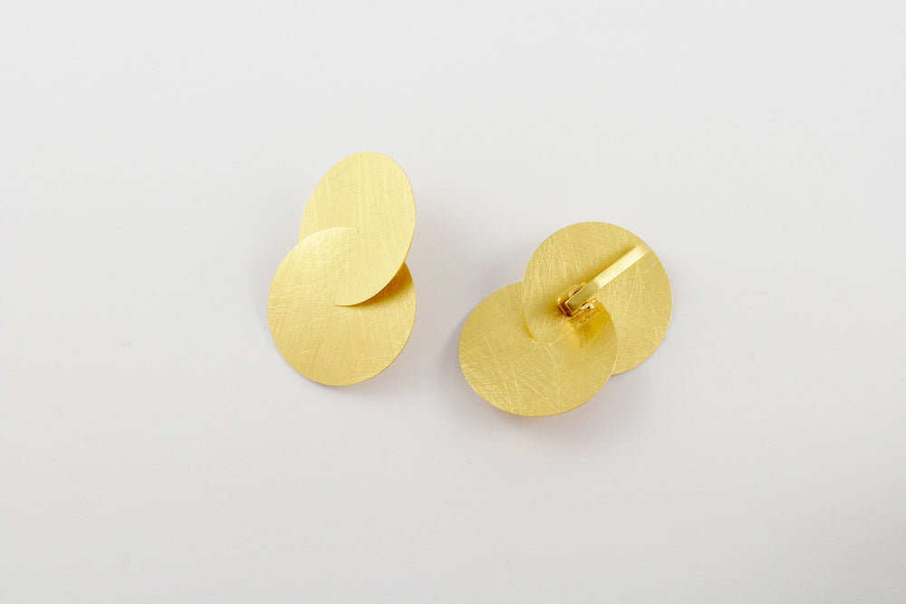 Earrings with clip, gold-plated silver