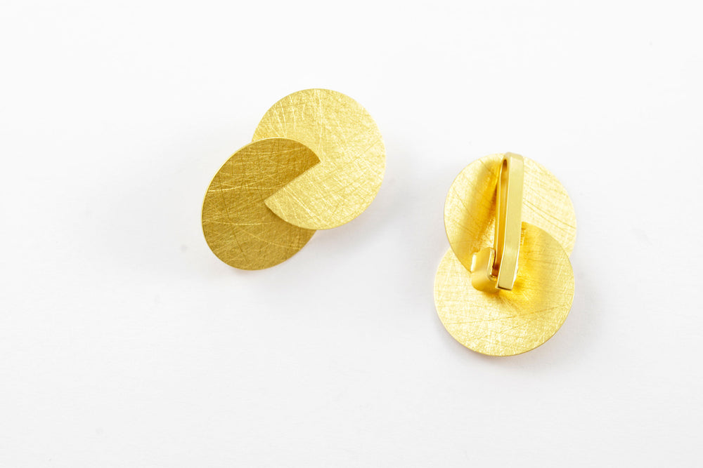 Earrings with clip, silver gold-plated