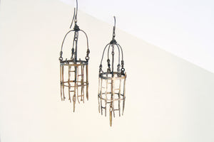 Earrings, birds cage